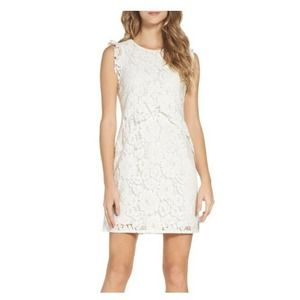 Charles Henry Ruffle Lace Overlay Sleeveless Dress